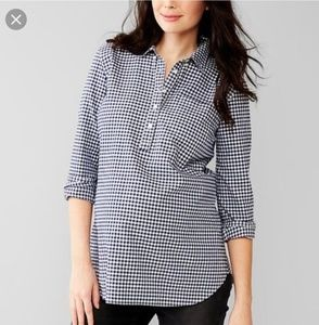 GAP Maternity Navy Gingham Fitted Boyfriend Shirt